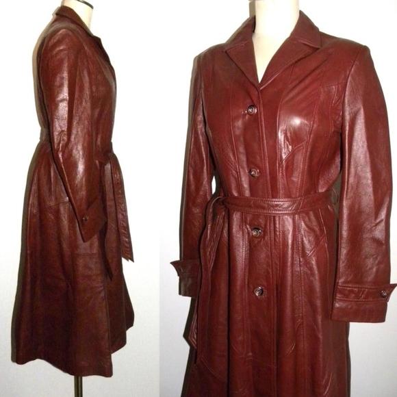 c7c3d393f Vintage 70s LEATHER Princess Trench Coat Burgundy